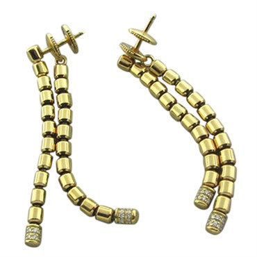 thumbnail image of New Piaget 18K Yellow Gold Diamond Drop Earrings
