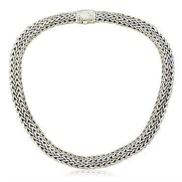 image of Estate John Hardy Batu Sari Sterling Silver XL Woven Chain Necklace