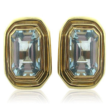 image of Certified 14k Gold 18ct Aquamarine Earrings