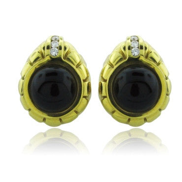 image of Estate 18k Gold Elizabeth Rand Onyx Diamond Earrings