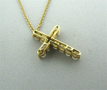 thumbnail image of Tiffany & Co 18k Yellow Gold Diamond Cross Pendant Necklace