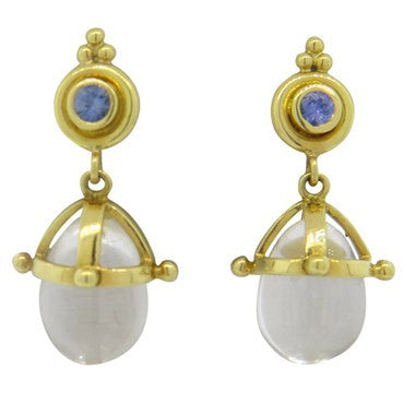 thumbnail image of Temple St. Clair Tanzanite Rock Crystal 18K Gold Drop Earrings