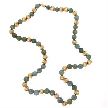 image of Gumps Jade Bead 14k Gold Necklace