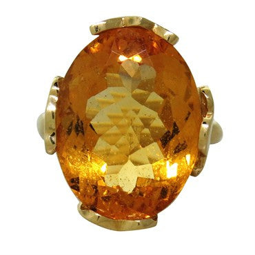 image of Tous 18k Gold Large Citrine Ring