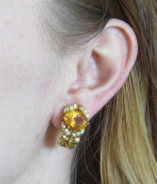 thumbnail image of Kaufmann de Suisse Citrine Diamond 18k Gold Earrings