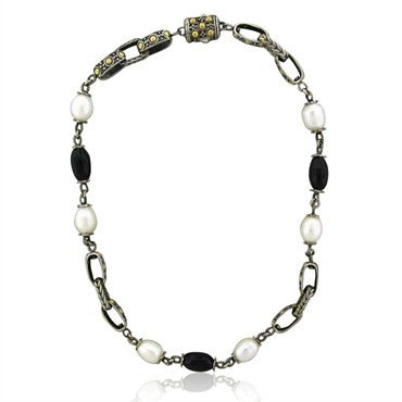 image of Estate John Hardy Dots Sterling Silver 18K Gold Pearl Onyx Necklace