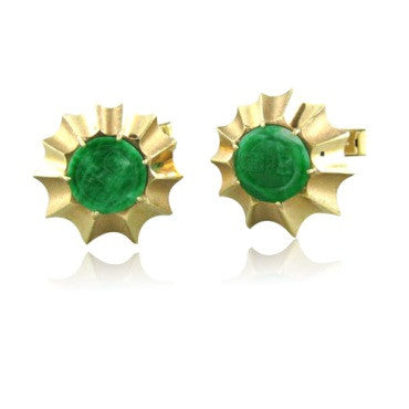 thumbnail image of Vintage Retro 14k Gold Carved Jade Cufflinks