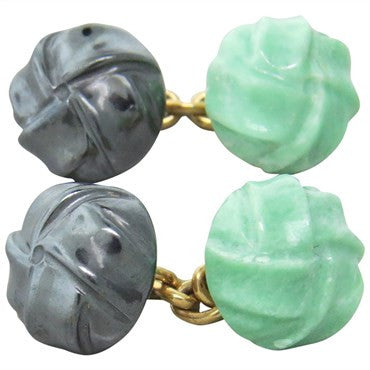 image of Trianon Hematite Carved Jade Gold Cufflinks
