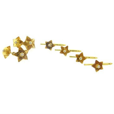 image of Seaman Schepps Citrine Diamond Star Cufflinks Stud Set