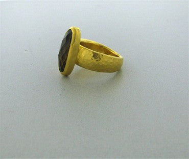 thumbnail image of New Gurhan 24K Gold 5.43ct Smokey Quartz Ring