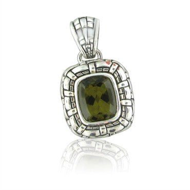 image of Scott Kay Olive Quartz Basketweave Sterling Silver Pendant