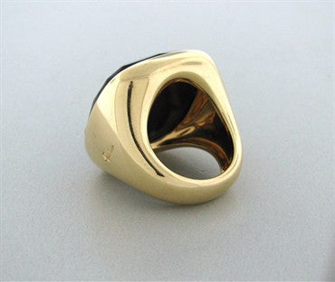 thumbnail image of Large Estate Pomellato Victoria 18k Yellow Gold Jet Ring
