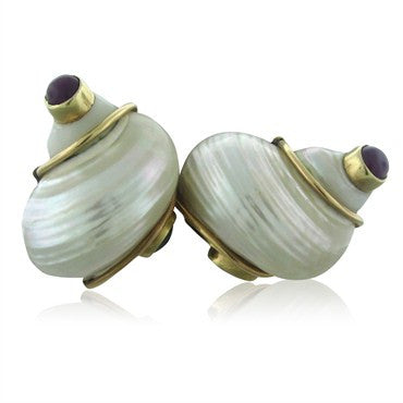 image of Seaman Schepps 14K Yellow Gold Ruby Sapphire Cabochon Shell Earrings