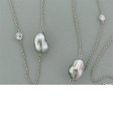 image of Tiffany & Co Peretti Pearl Diamond Necklace Earrings