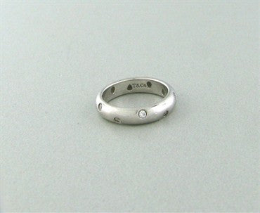 thumbnail image of Tiffany & Co Platinum Etoile Diamond Band Ring Size 5