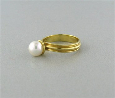 image of Estate Tiffany & Co 18K Yellow Gold Pearl Ring