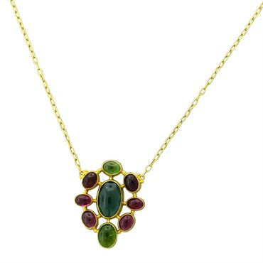 image of Gurhan 24k Gold Multi Color Gemstone Pendant Necklace