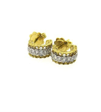 image of Mario Buccellati Diamond 18k Gold Hoop Earrings