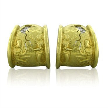 image of Estate Seidengang 18K Yellow Gold Platinum Diamond Earrings