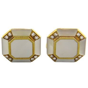 image of Diamond Mother of Pearl Gold Cufflinks