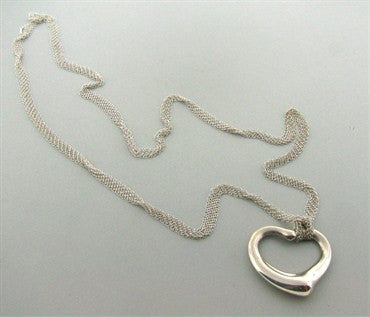 image of Estate Tiffany & Co Peretti Sterling Mesh Necklace Open Heart Pendant