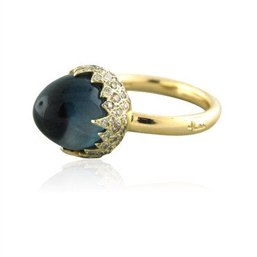 thumbnail image of Pomellato Chimera 18K Gold Blue Topaz Diamond Ring