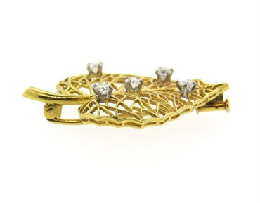 thumbnail image of Cartier Diamond Gold Leaf Brooch Pin