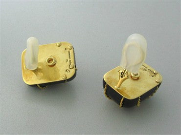 thumbnail image of Seaman Schepps 18K Yellow Gold Wood Earrings