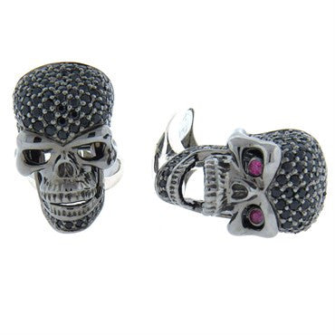image of Deakin & Francis Ruby Spinel Sterling Silver Skull Cufflinks
