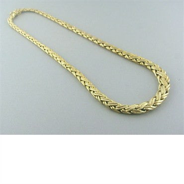 image of Vintage Tiffany & Co 14k Gold Woven Pattern Necklace
