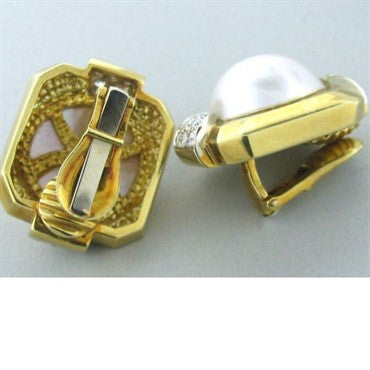 thumbnail image of Vintage R.Stone 18k Gold Diamond Pearl Earrings