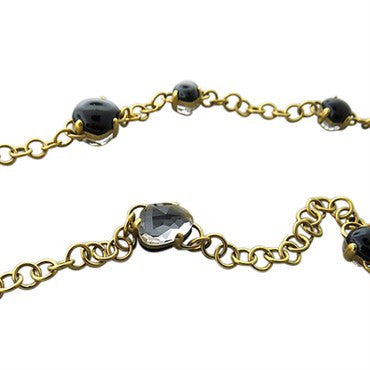 image of New Pomellato Capri 18k Gold Onyx Quartz Necklace
