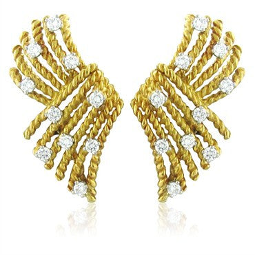 image of Tiffany & Co Schlumberger V Rope Diamond Earrings