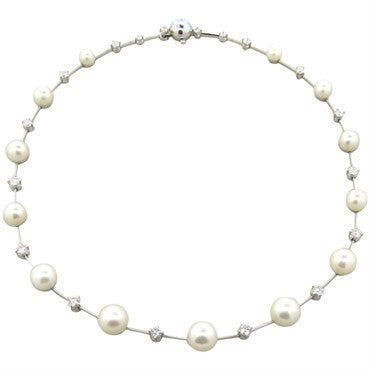 thumbnail image of Fine 18k Gold 2.00ctw Diamond Graduated South Sea Pearl Necklace