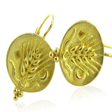 thumbnail image of New Temple St Claire 18k Gold Zodiac Virgo Earrings