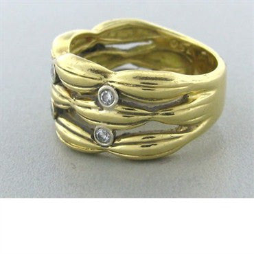 image of Vintage Tiffany & Co 18k Gold Diamond Ring Wide Band