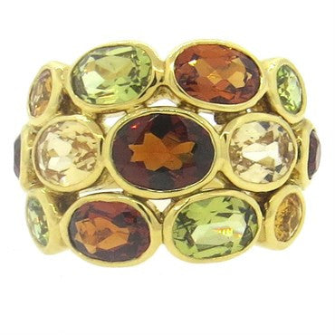 New Temple St. Clair Bombe Multicolor Gemstone Diamond 18k Gold Ring