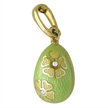 thumbnail image of Faberge 18K Gold Diamond Lime Green Enamel Flower Egg Charm Pendant