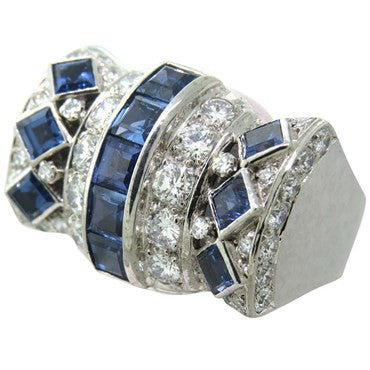 image of 1980s David Webb Gold Platinum Diamond Sapphire Cocktail Ring