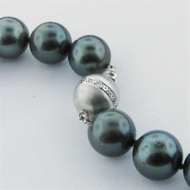 thumbnail image of Certified Saltwater Cultured Pearl Diamond Necklace