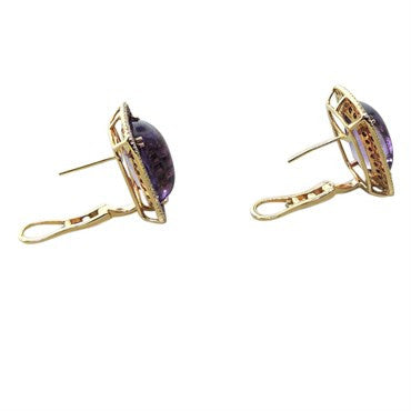 thumbnail image of Modern Amethyst Ruby Diamond 18K Gold Earrings