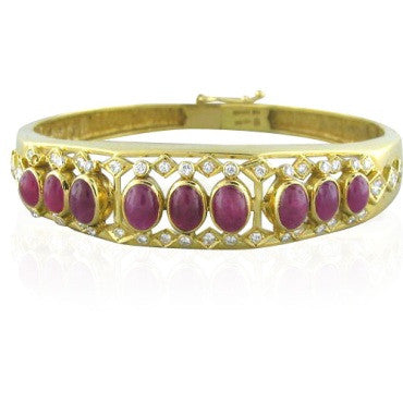 image of Ilias Lalaounis Arabesque Diamond Ruby Bangle Bracelet