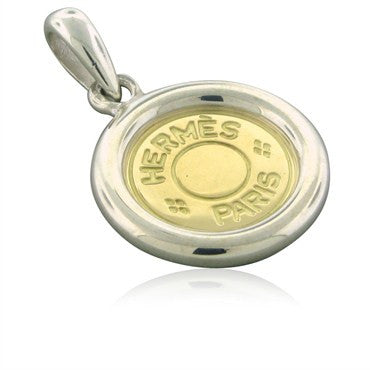 image of Estate Hermes 18K Yellow Gold Sterling Silver Circle Pendant