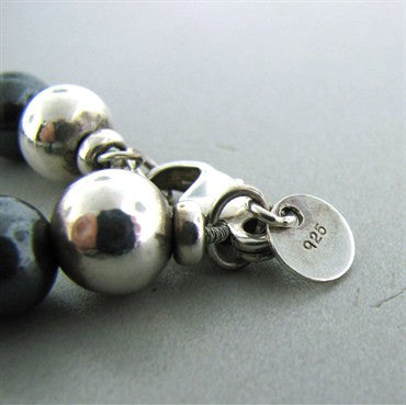 image of Estate Tiffany & Co Sterling Silver Hematite Bead Necklace