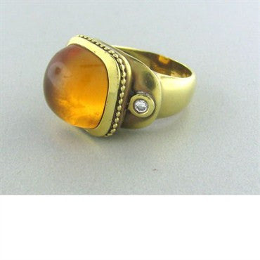 thumbnail image of Estate Seidengang 18k Gold Athena Citrine Diamond Ring