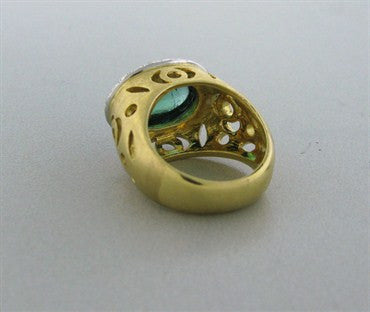 thumbnail image of New Gumuchian Lace Cut 18K Gold Platinum Tourmaline Diamond Ring