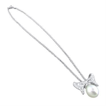 thumbnail image of Morelli 18k White Gold Pearl Diamond Necklace