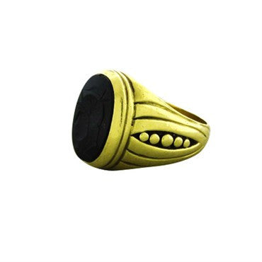 thumbnail image of Circa 1987 Vahe Naltchayan 18K Yellow Gold Onyx Intaglio Ring