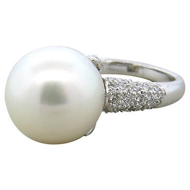 image of Lovely South Sea Pearl Diamond Platinum Cocktail Ring