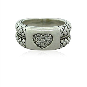 thumbnail image of Estate Scott Kay Sterling Silver Diamond Heart Ring